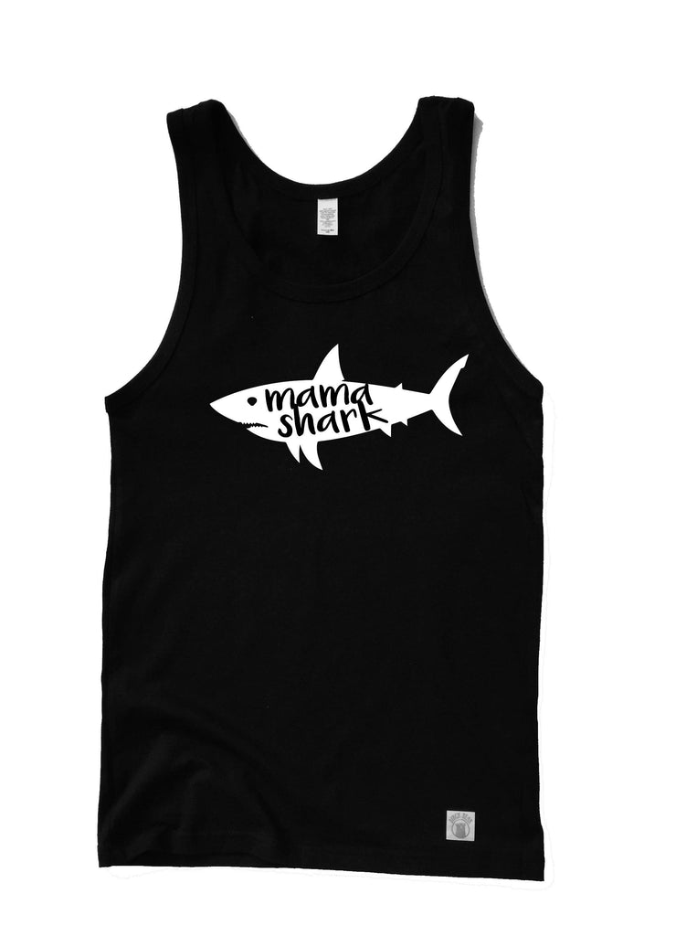 Unisex Mama Shark Shirt - Shark Shirt - Mom Shark - Beach Shirt - Trending Summer Beach Tank - Vacation Shirt  Matching Shark Birthday Shirt - BirchBearCo