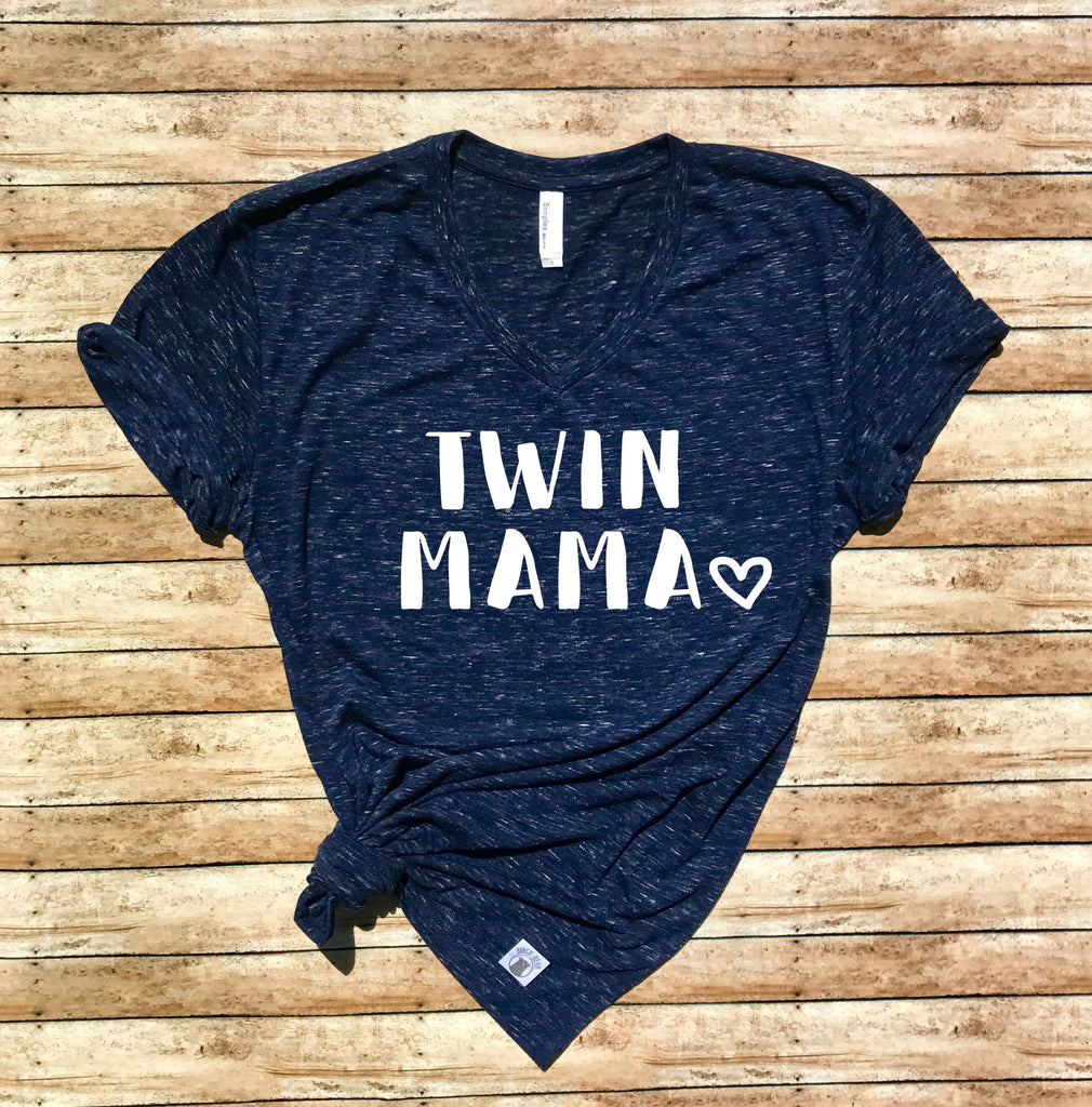 Twin Mama Shirt - Twin Mom Shirt - Mom of Twins Shirt Unisex V Neck T Shirt - - BirchBearCo