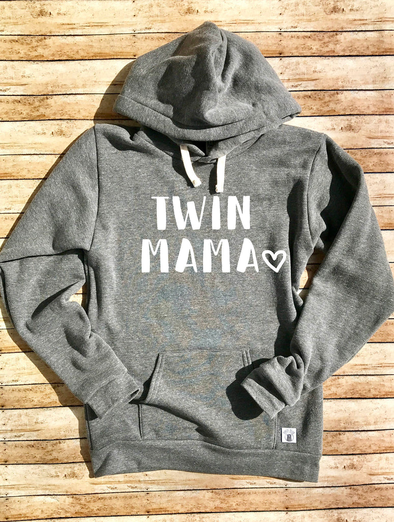 Triblend Unisex Fleece Pullover Hoodie Twin Mama - Mom of Twins - Twin Sweatshirt - Funny Mom Shirt - Gift For Mom - Twins Shirt - BirchBearCo