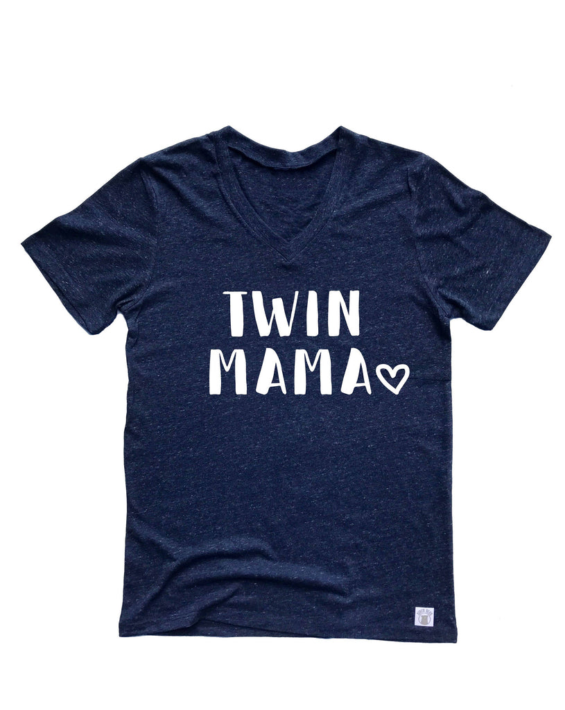 Twin Mama Shirt  - Twin Mom Shirt - Mom of Twins Shirt - Unisex Tri-Blend V-Neck T-Shirt - BirchBearCo