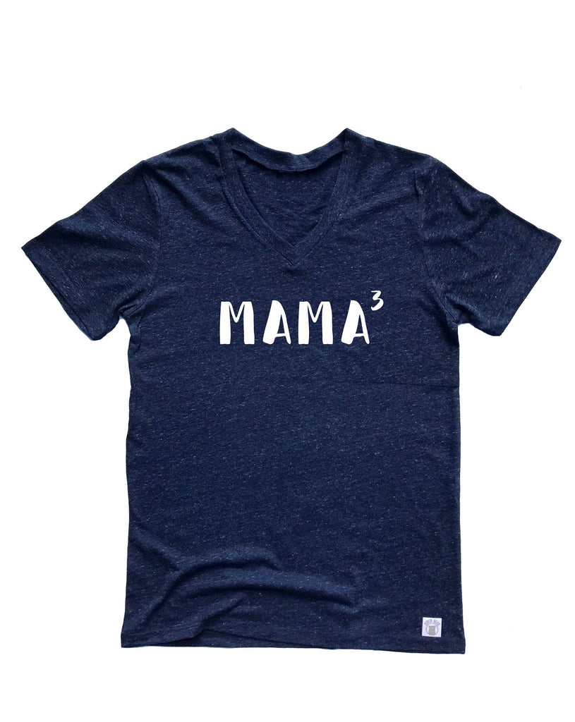 Unisex Tri-Blend V-Neck T-Shirt Mama Cubed - Custom Mom Cubed T Shirt - Mom 3 Shirt - Funny Mom Shirt - Gift For Mom - BirchBearCo