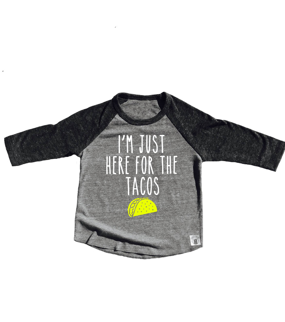 Im Just Here For The Tacos Shirt - Childrens Raglan - BirchBearCo
