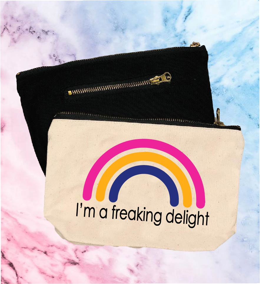 I'm A Freaking Delight | Canvas Cosmetic And Accessory Bag - BirchBearCo