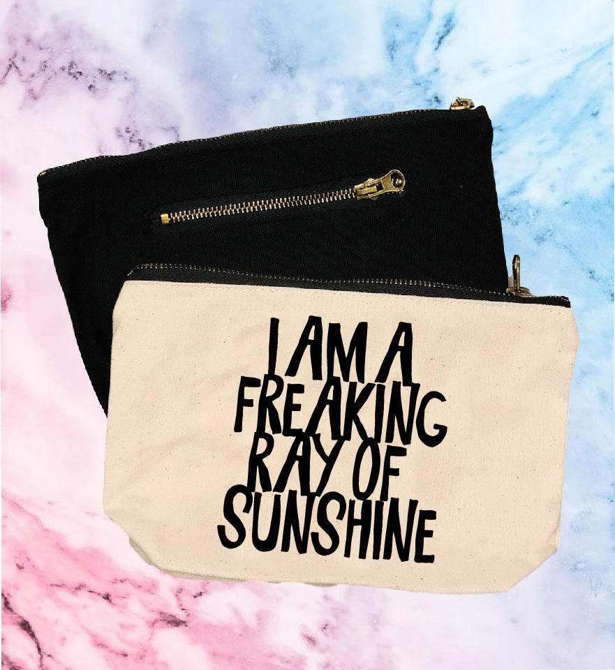Im A Freaking Ray Of Sunshine| Canvas Cosmetic And Accessory Bag - BirchBearCo