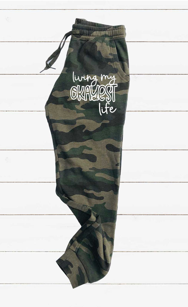 Living My Okayest Life Graphic Women's Soft Washed Sweatpants - BirchBearCo