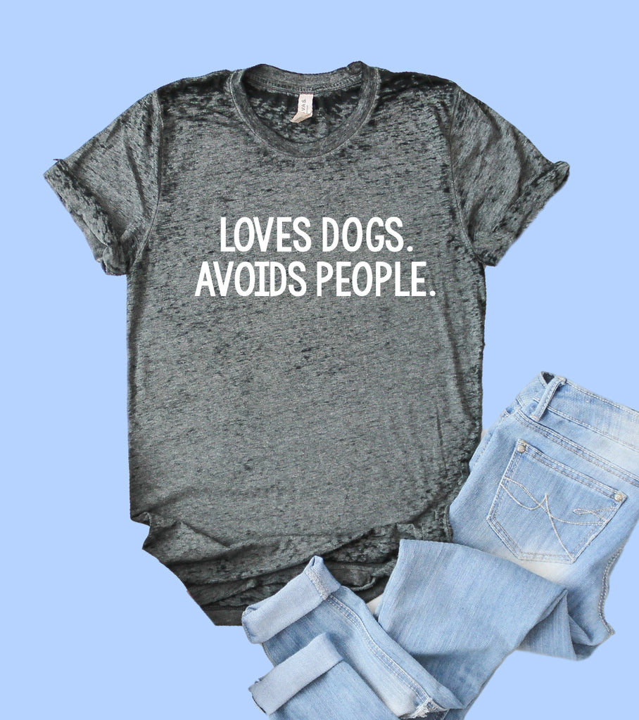 Loves Dogs Avoids People Shirt | Acid Wash T Shirt | Unisex Crew - BirchBearCo