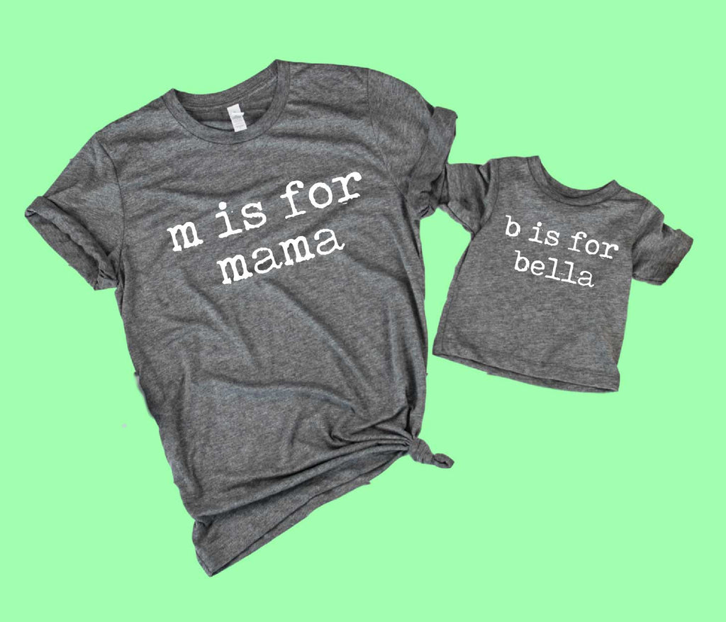 Mommy and Me Shirts | M is For Mama Custom Kids Shirt - BirchBearCo