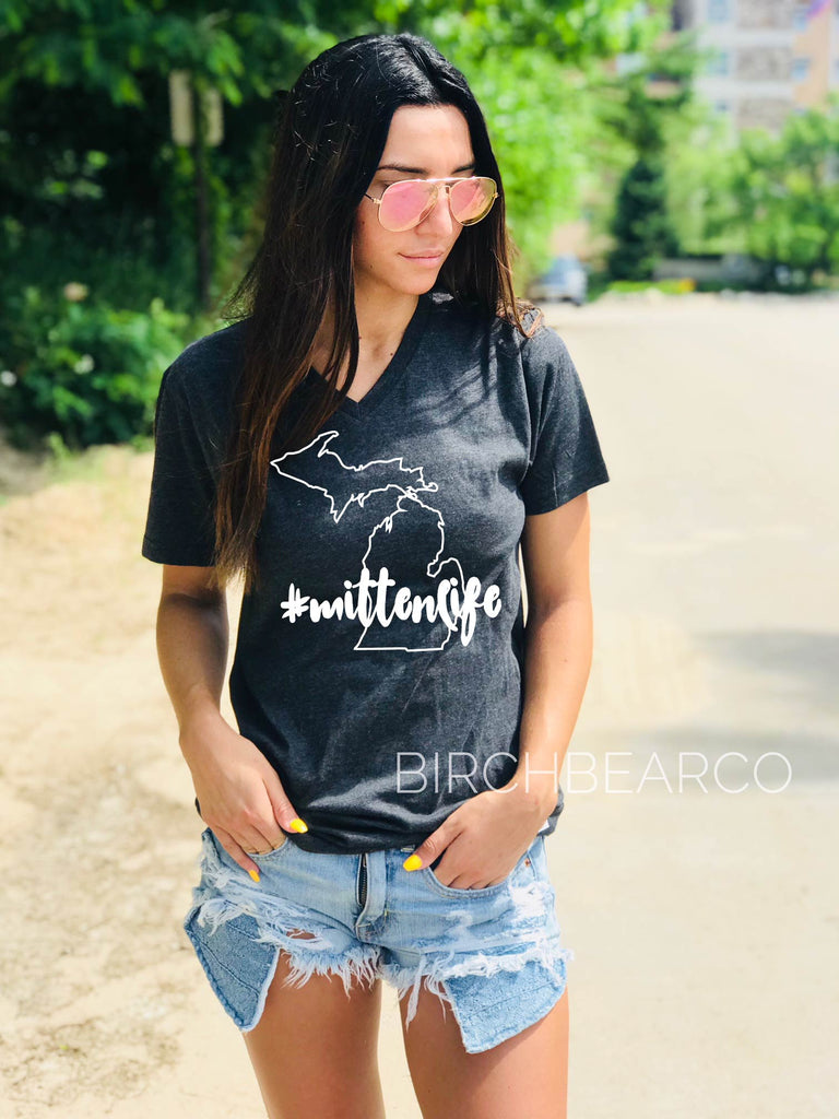 Mittenlife T Shirt - Michigan Shirt - BirchBearCo