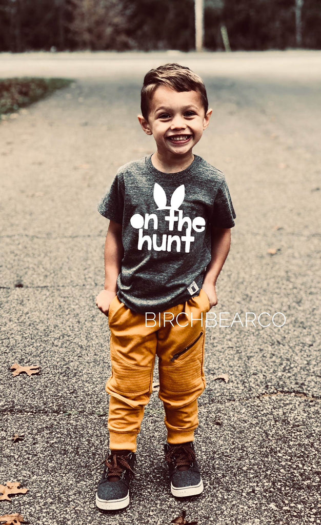 On The Hunt | Unisex Kids Easter Shirt | Cute Easter Bunny Shirt for Kids - BirchBearCo