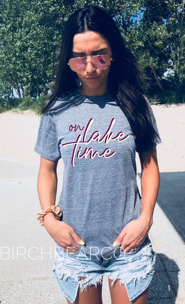 On Lake Time Shirt | Lake Shirt | Vacation Shirt | Unisex Crew - BirchBearCo