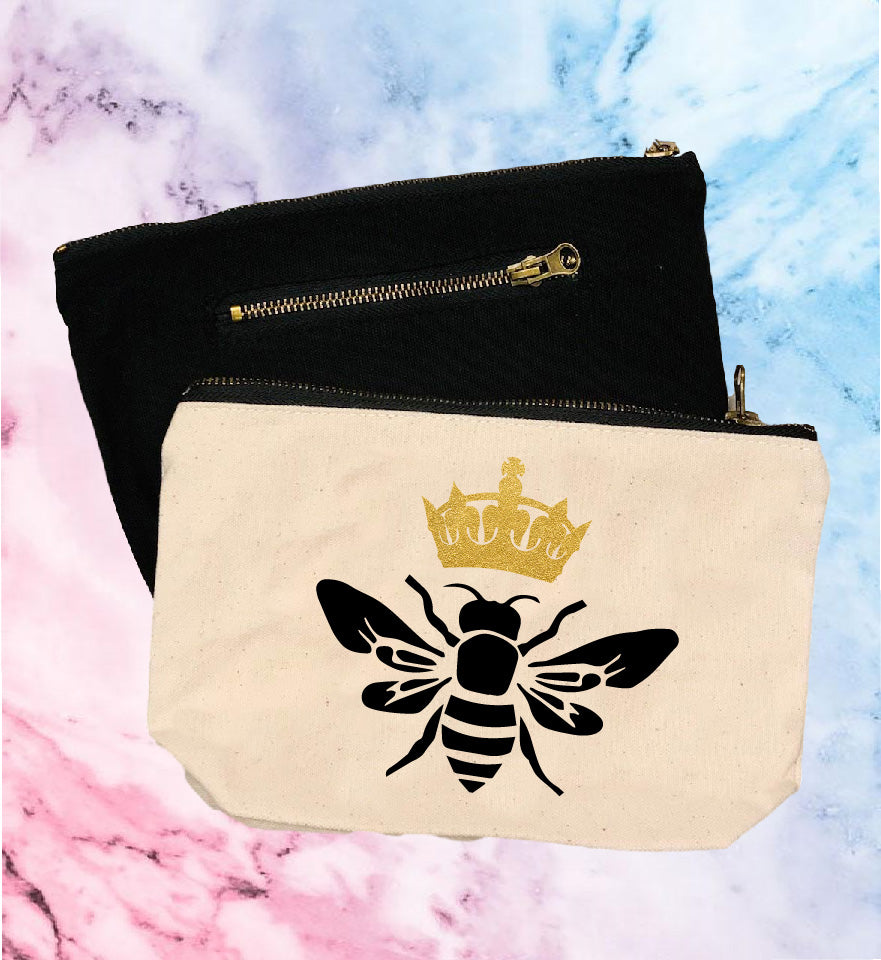 Queen Bee | Canvas Cosmetic And Accessory Bag - BirchBearCo