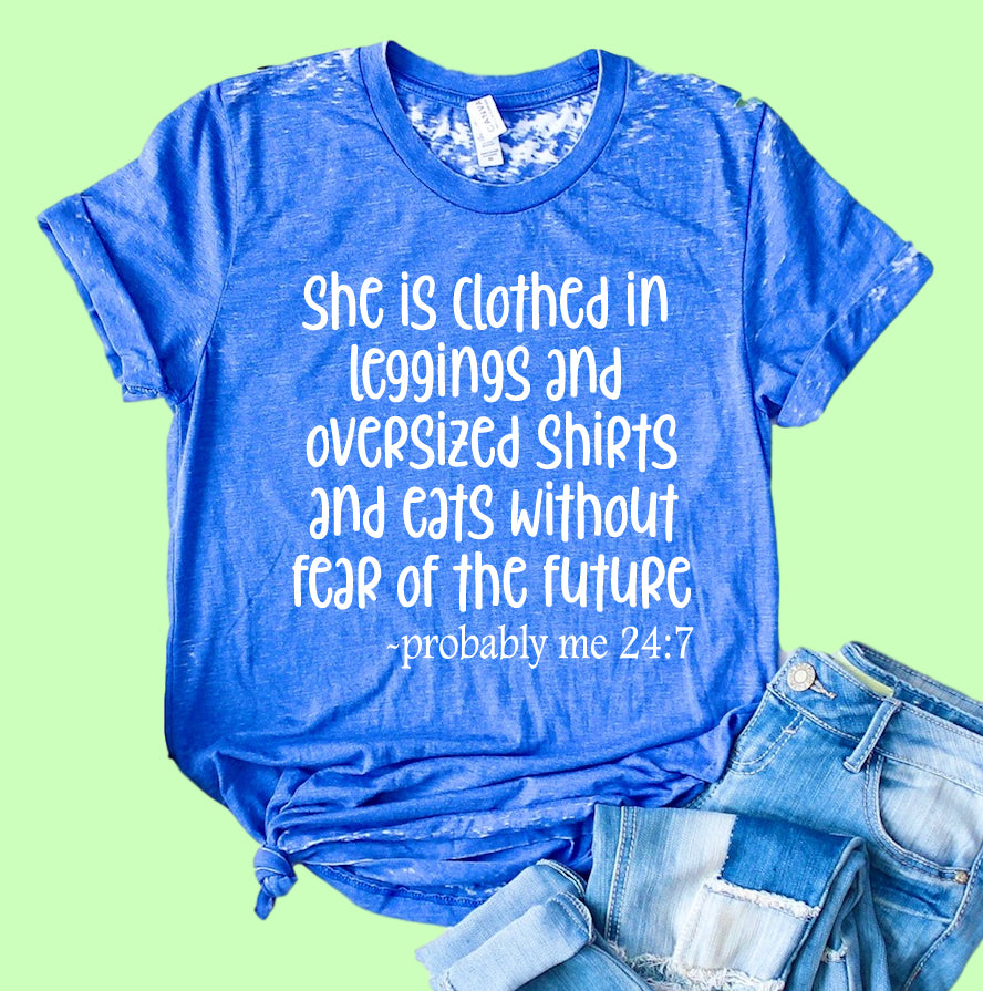 She Is Clothed In Leggings Shirt | Funny Shirt | Acid Wash T Shirt | Unisex Crew - BirchBearCo