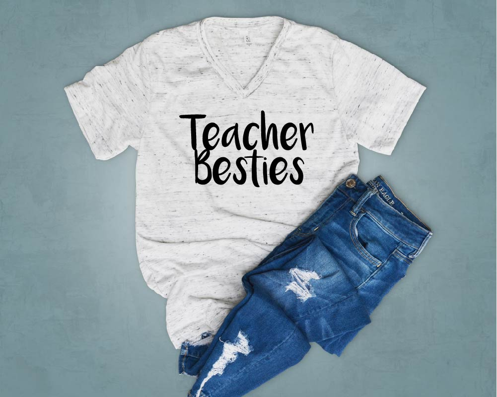 Teacher Besties - Teacher Shirt - Funny Teacher T Shirt Unisex V Neck T Shirt - BirchBearCo
