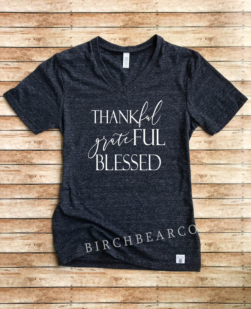 Thankful Grateful Blessed Shirt - Blessed Shirts - Thankful and Blessed - Blessed T Shirt Unisex Tri-Blend V-Neck T-Shirt - BirchBearCo