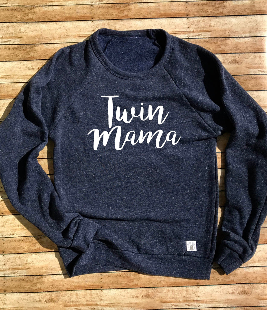 Twin Mama Sweatshirt - Mom Sweatshirt - Mom Of Twins Sweatshirt - Gift For Twins - Twin mom Gift Tri-Blend Crew Neck Sweatshirt Unisex - - BirchBearCo
