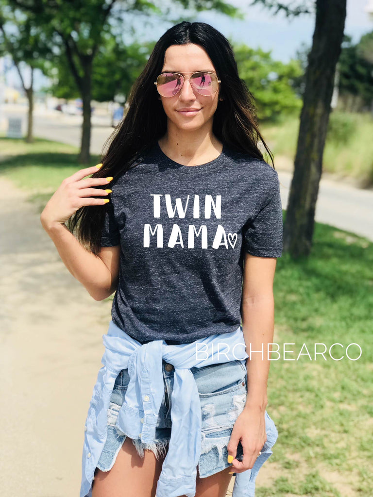 Twin Mama Shirt - Twin Mom Shirt - Mom Life - Mom of Twins Shirt - Twin Mom Shirt Unisex Tri-Blend T-Shirt - BirchBearCo