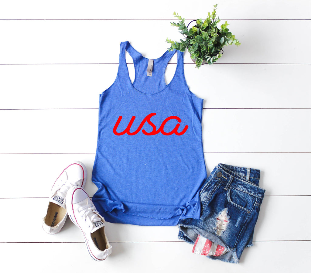 USA Tank | 4th Of July Tank | 4th Of July Shirt | Women's Fitting Racer Tank Shirt - BirchBearCo