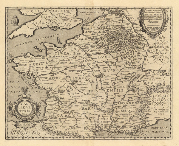 17th century map reproduction France fine art print