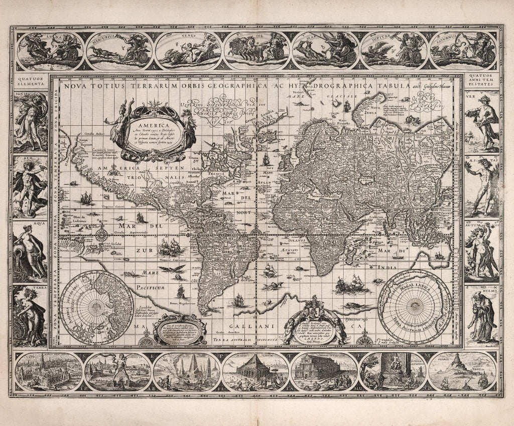 Antique World Map Th Century Fine Art Reproduction MP - Antique world map picture