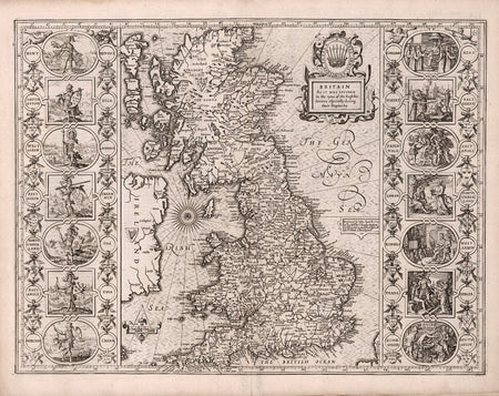 Historical Map of Spain, 16th Century, Fine Art Reproduction MP036