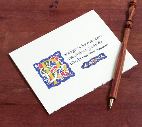 Romeo and Juliet parting such sweet sorrow note card with pen
