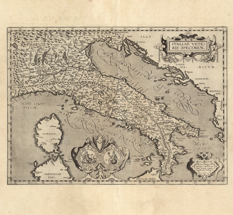 historical map of Italy 17th century