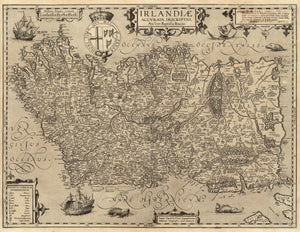17th century Ireland map fine art reproduction