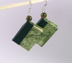 hanging earrings miniature books green marbled paper matching leather spine