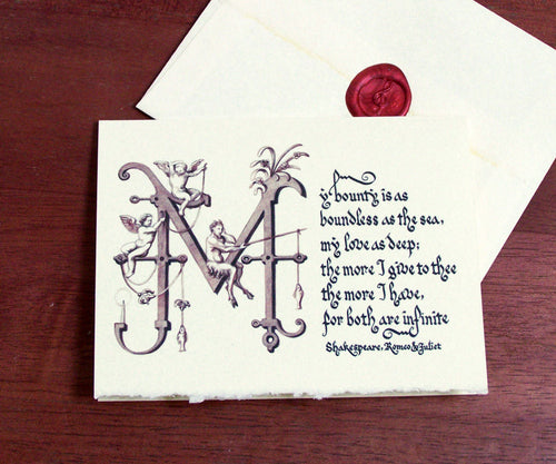romance Shakespeare calligraphy Romeo and Juliet love quote stationery