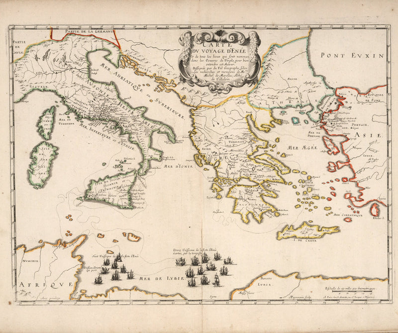 historical map voyage of Aeneas 17th century