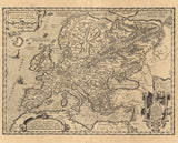 17th century reproduction print map of Renaissance Europe