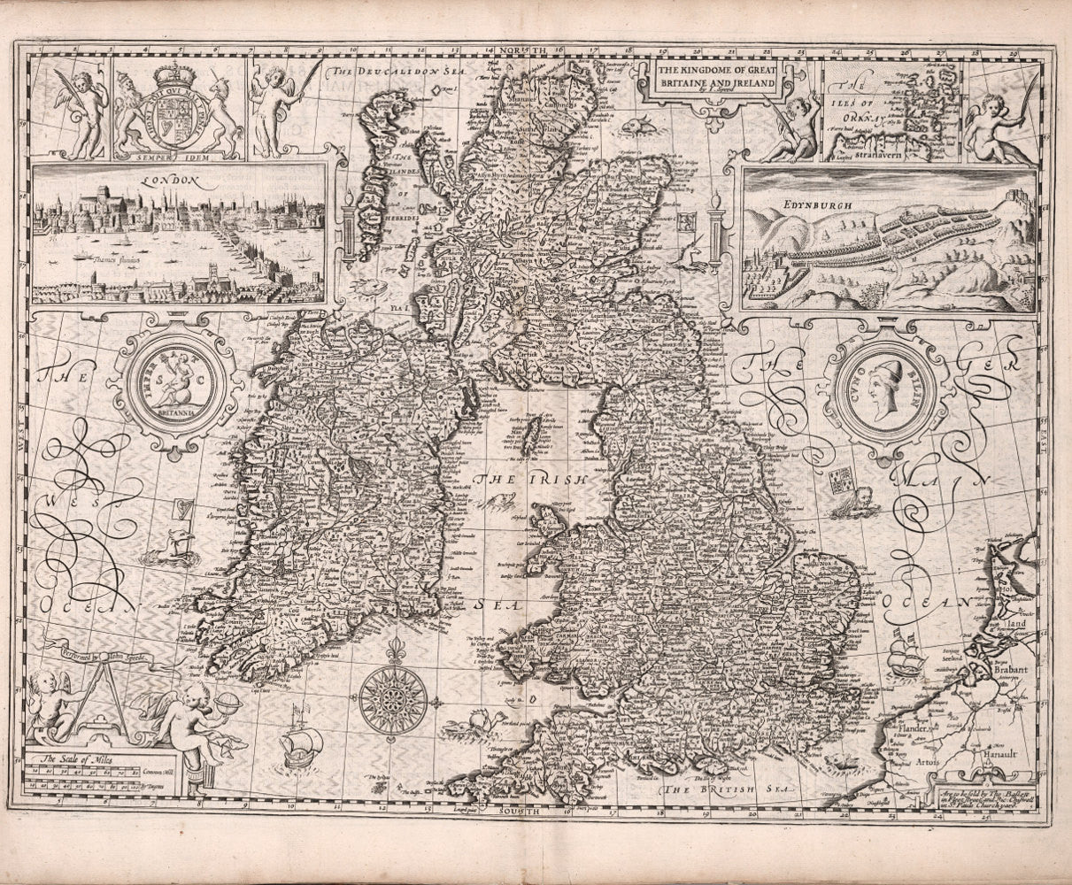 Map Of England Ireland Scotland Wales.Historical Map Of England Great Britain 17th Century Fine Art