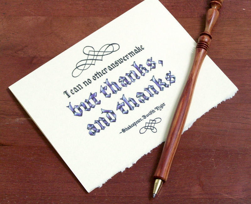 Shakespeare calligraphy thank you quote card envelope pen