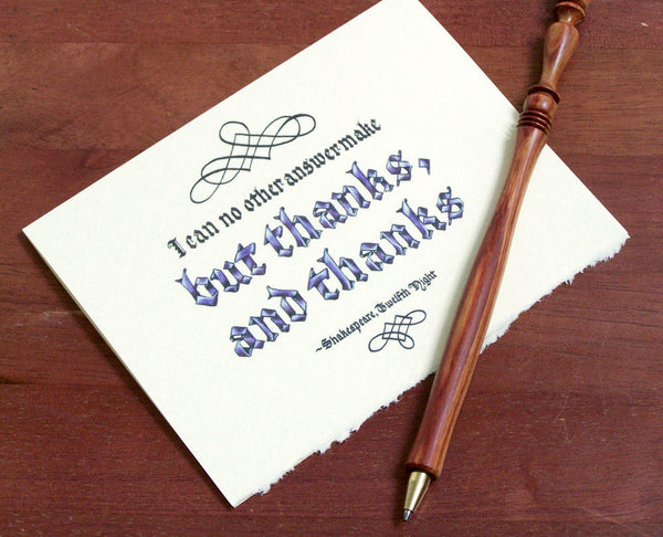 thanks and thanks literary Shakespeare note card pen