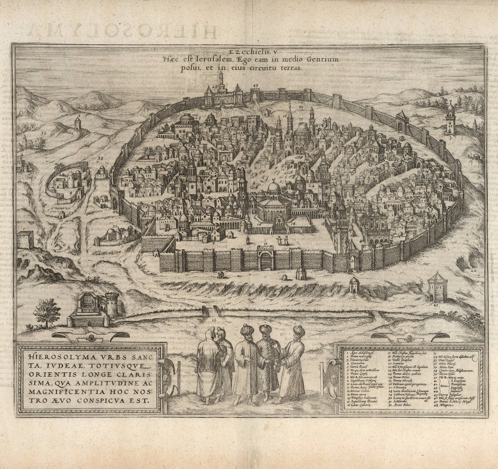 city map historical Jerusalem 16th century