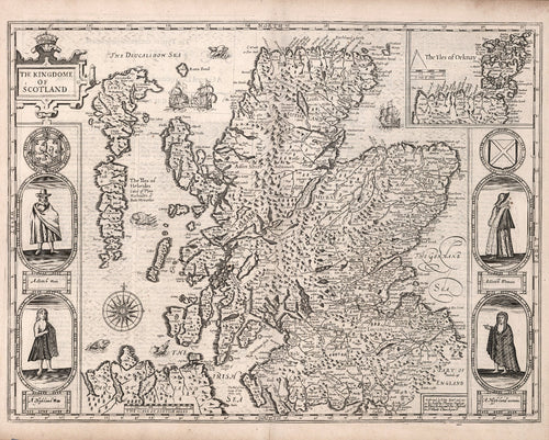 historical map of Scotland from 17th century