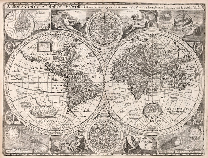 vintage map reproduction world and celestial 17th century fine art print