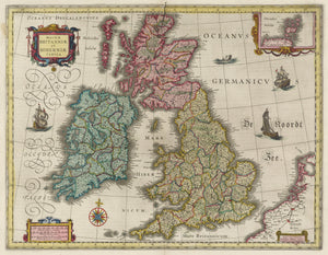color historical map of Britain 17th century