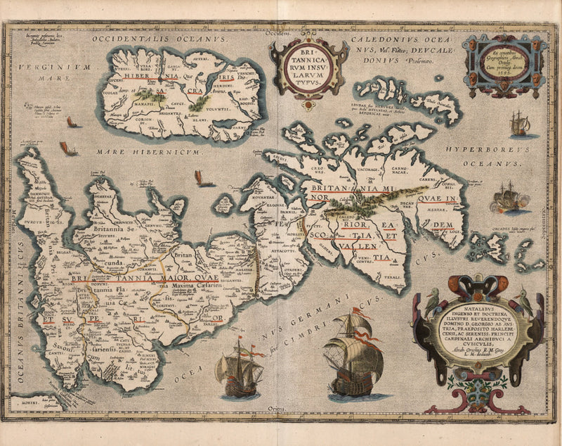 historical map British isles color 17th century
