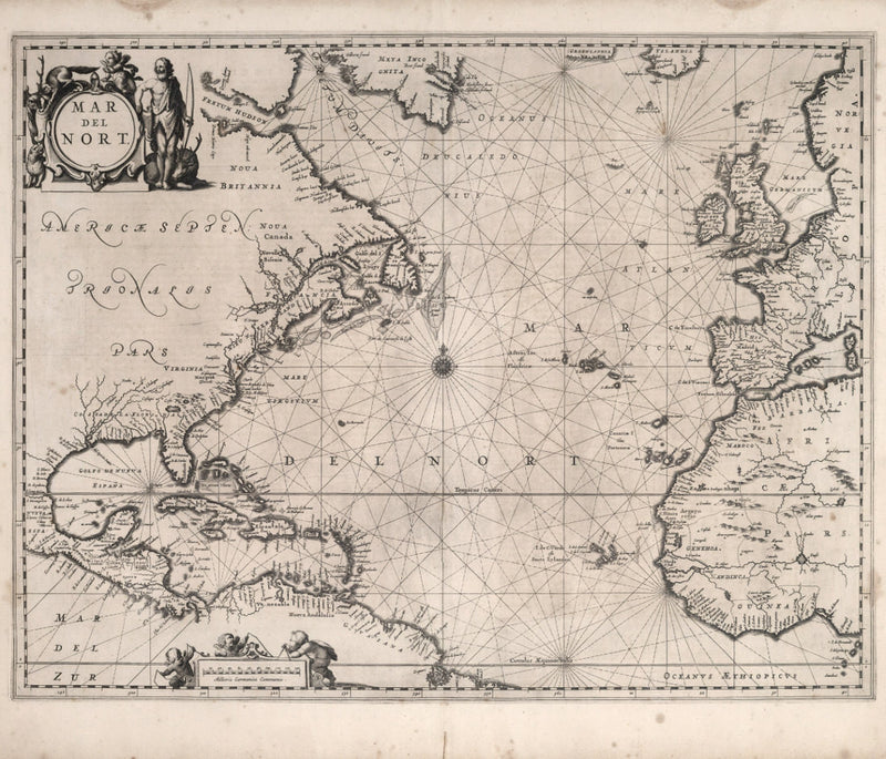 nautical chart 17th century Atlantic Ocean Europe North America Africa Brazil