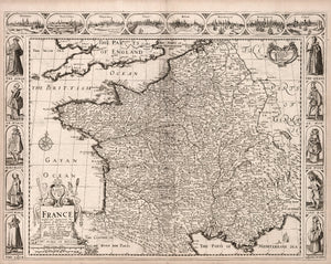 map reproduction art print France and Europe 17th century Renaissance