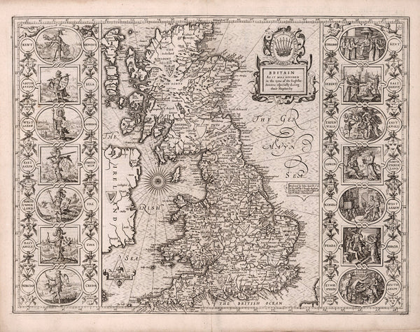 Anglo-Saxon Britain historical map 17th century