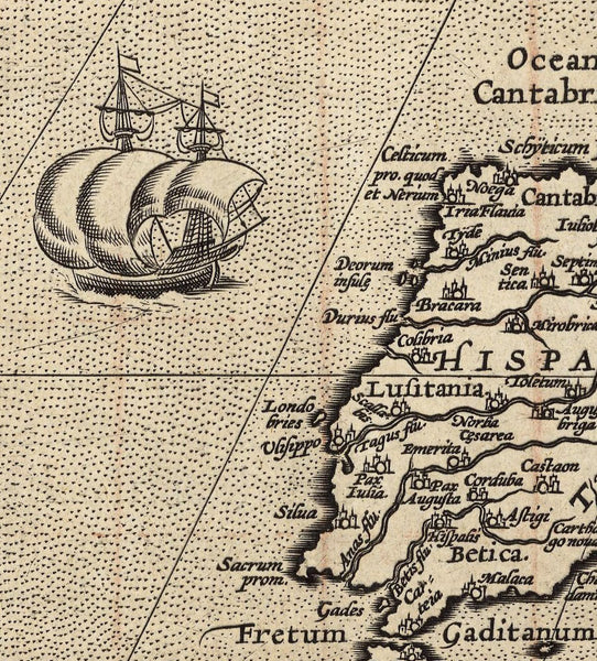 map reproduction detail ship and Spanish coast