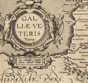 Renaissance France map detail with Latin and place names