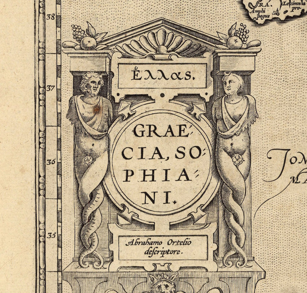 16th century map detail inscription with caryatid columns