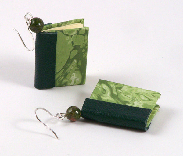green miniature book earrings detail with beads