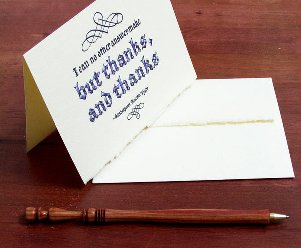 Shakespeare calligraphy note card pen envelope