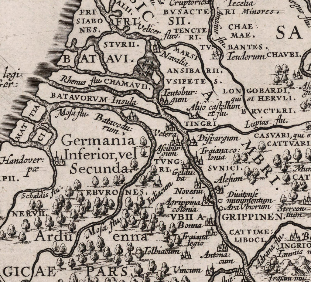 detail of Rhine at coast with place names