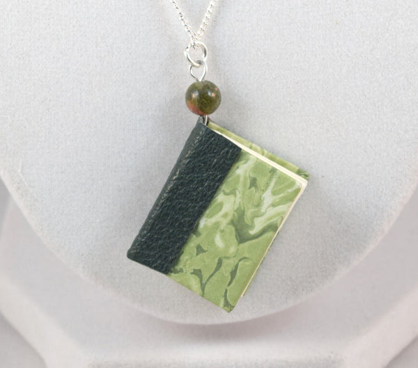 miniature green book necklace silver chain