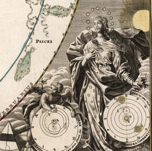 detail of celestial mechanics with mythological figures